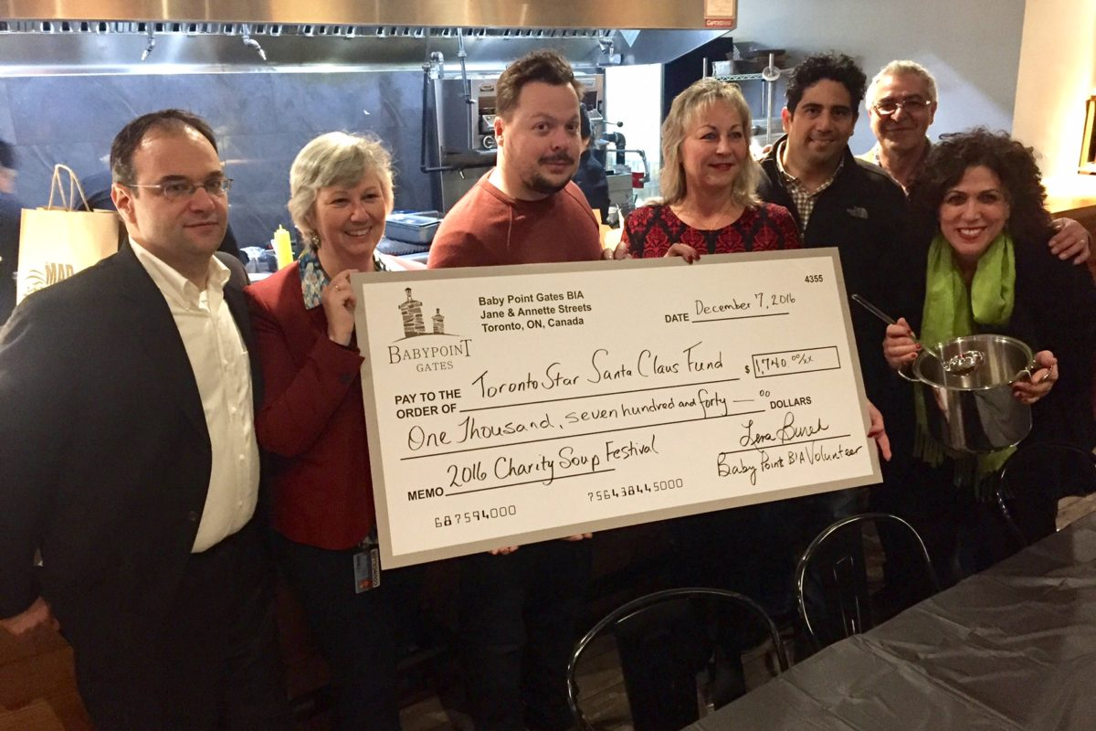 From left: Darryl Kaplan (BPG BIA Board Chair), Councillor Sarah Doucette, Dennis Maslo (BPG BIA Board Vice-Chair), Barbara Mrozek (Toronto Star Director of Charities),  Jose Hadad (Mad Mexican Owner), Joe Valenza (BPG BIA Board Member), Lena Burek (BPG BIA Marketing Volunteer)