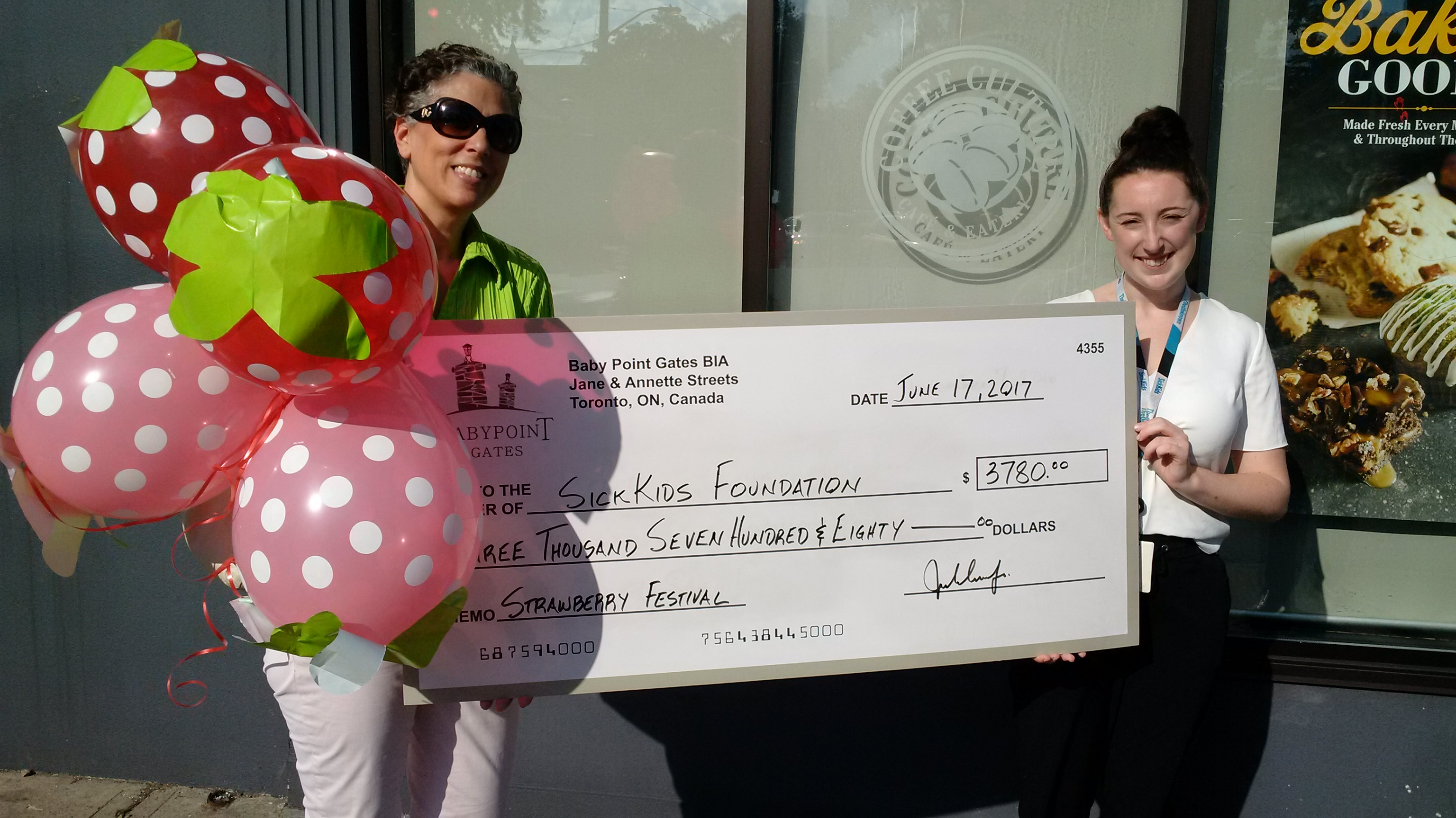 2017 Charity Strawberry Fest Raised $3,780 in support of SickKids Yeah!!!